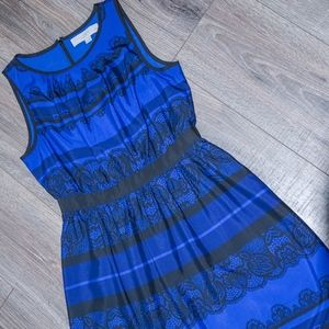 Blue & Black A-line Lace-print detail dress